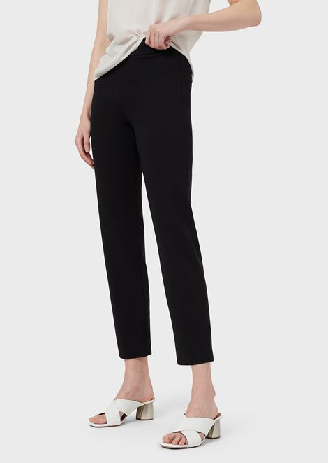 Slim-fit trousers in Milano knit fabric with satin band