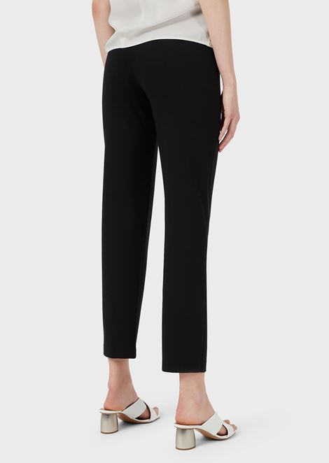 Slim-fit pants in Milano-knit fabric with satin band