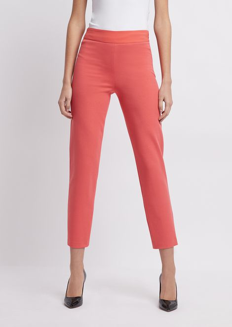 Slim-fit pants in Milano knit fabric with satin band