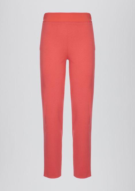 Pantalones de corte ajustado en tejido de punto Milano con banda de raso