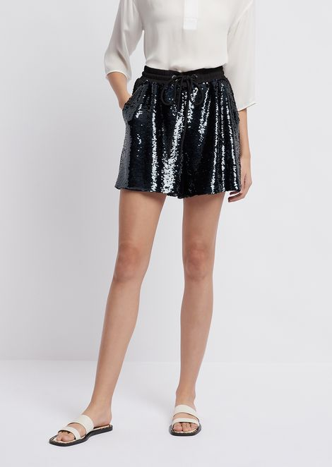 Shorts in all-over sequinned fabric with drawstring