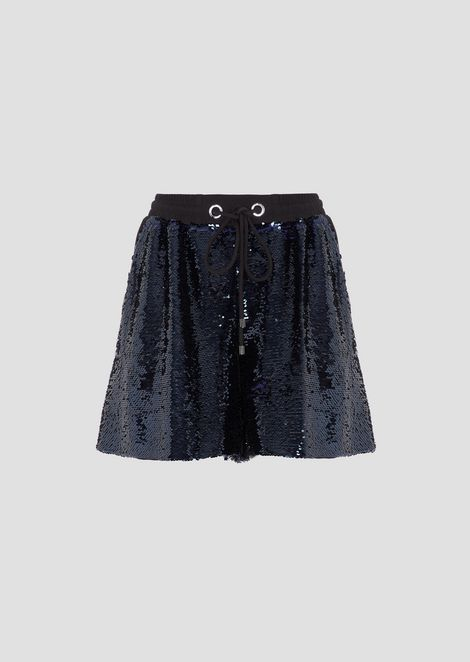 Shorts in sequined fabric with drawstring
