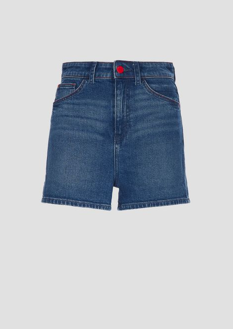 High-waisted shorts in cotton denim
