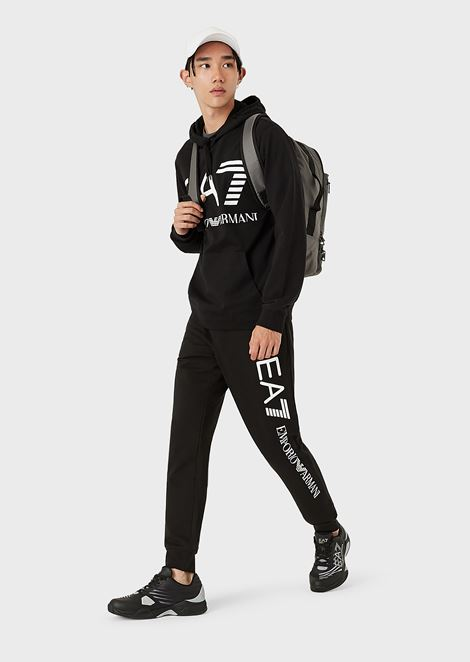 Cotton jogging pants with contrast logo