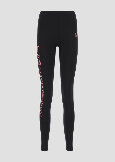 Leggings in cotone stretch con logo EA7 stampato