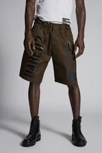 DSQUARED2 Cotton Dan Elastic Boxer Cargo Short With Shiny Military Logo Print Shorts Man