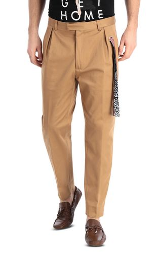 Chino pants with leopard-print band