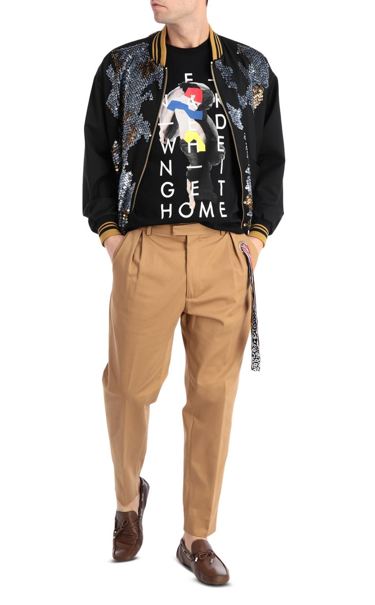 JUST CAVALLI Chino pants with leopard-print band Casual pants Man d