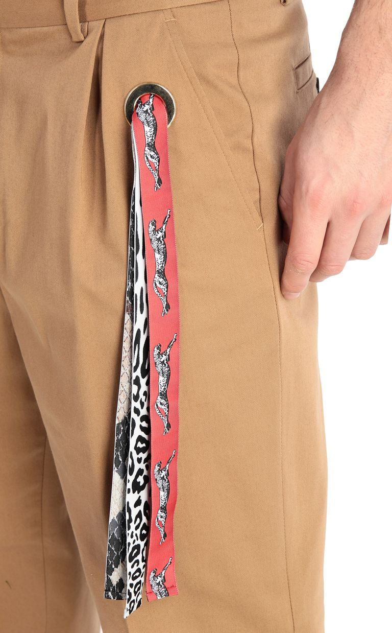 JUST CAVALLI Chino pants with leopard-print band Casual pants Man e