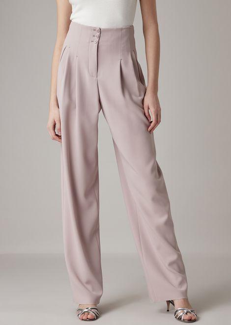 Pantaloni con pinces in crepe di lana