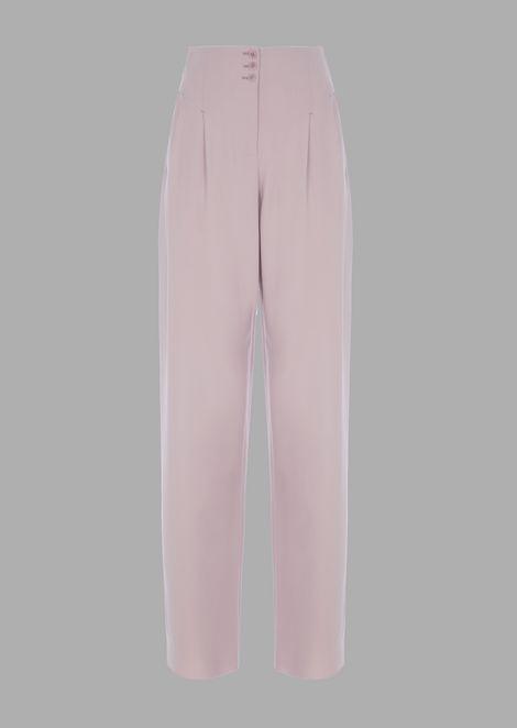 Pleated wool crepe pants