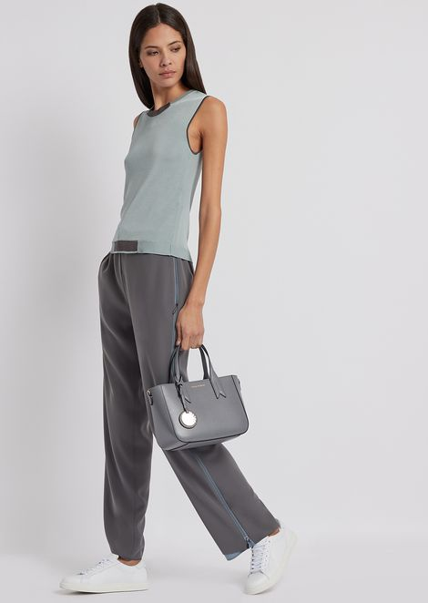 Trousers in cady fabric with side insert with zip
