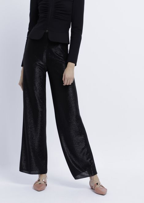 Palazzo trousers in viscose jersey with matching coloured lurex yarn