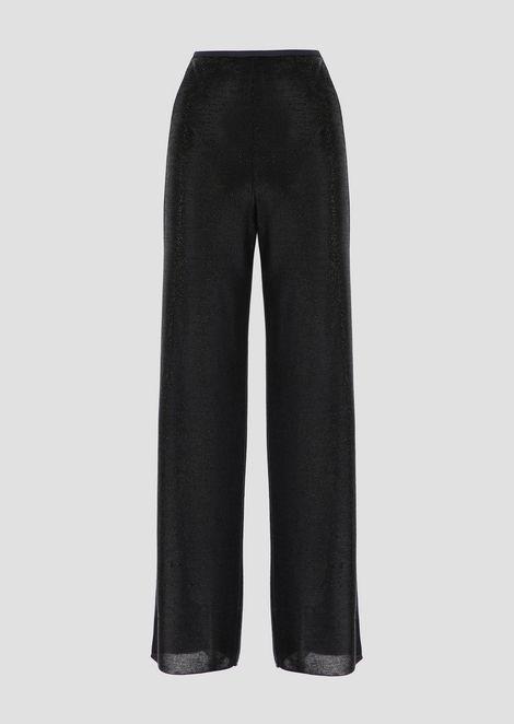 Pantalones palazzo de punto de viscosa con hilos de lúrex a tono