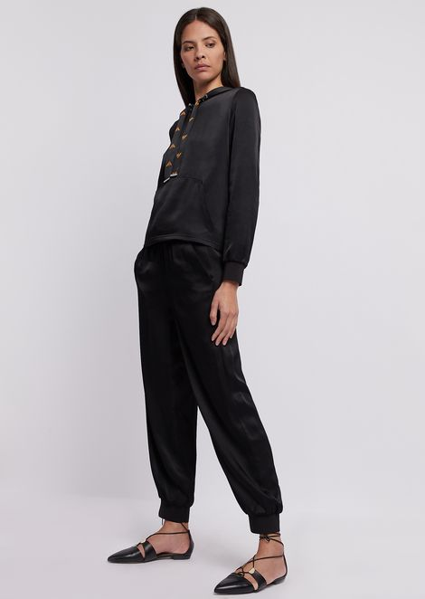 Jogging pants in satin with drawstring and logo band
