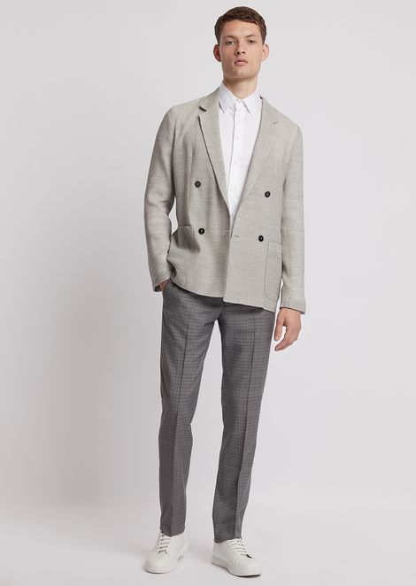 Checked light wool trousers with crease