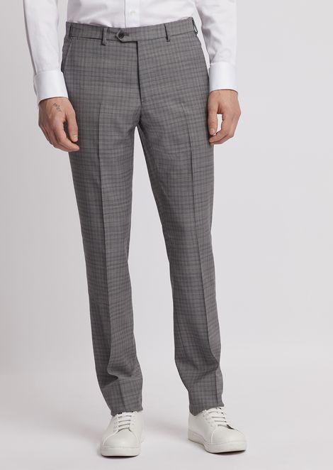 Pantalones de lana fría a cuadros con raya