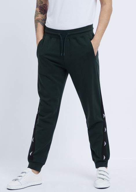 Stretch interlock pants with logo bands