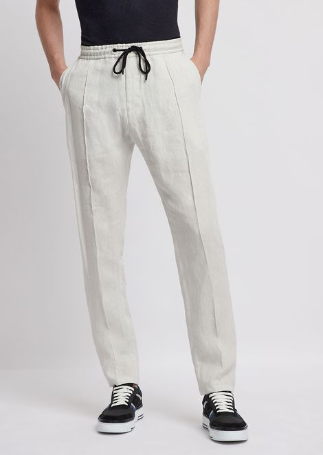 Pants in ultralight stretch cotton with stretch waist