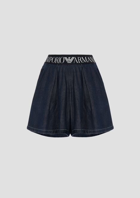 Denim shorts with logo waist band