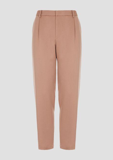 Lightweight wool gabardine trousers with pleats