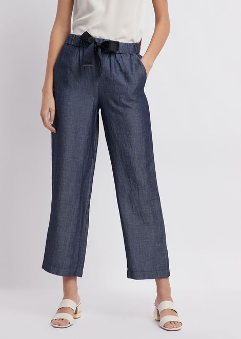 Cropped denim pants with bow at the waist
