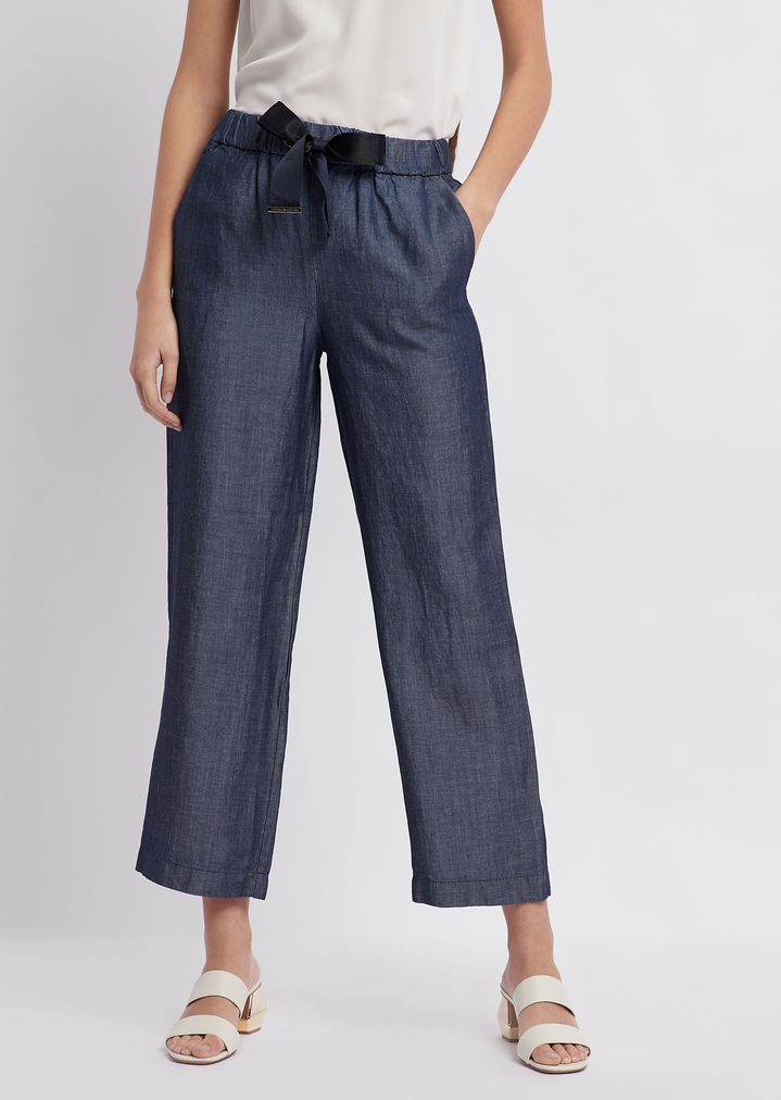 0dc0a0b6dfb2 Cropped denim pants with bow at the waist | Woman | Emporio Armani