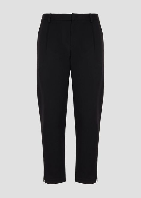 Lightweight wool gabardine pants with pleats