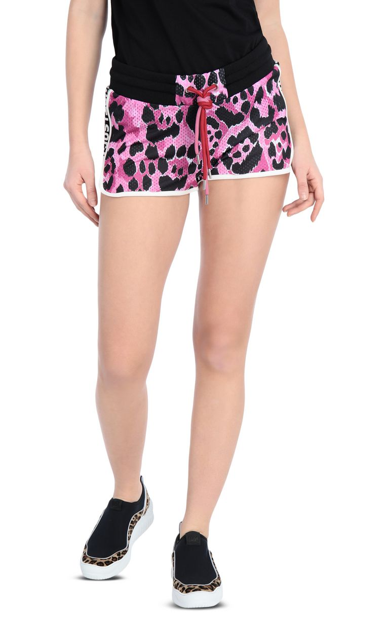 JUST CAVALLI Jersey shorts with a panther print Shorts Woman f