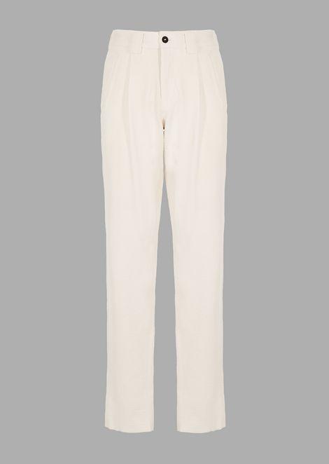 Oversized pants in garment-tumbled seersucker corduroy velvet