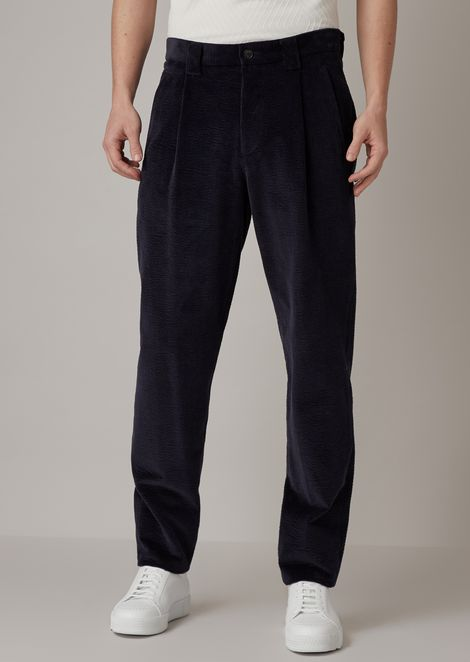 Oversized pants in garment-tumbled seersucker corduroy velvet