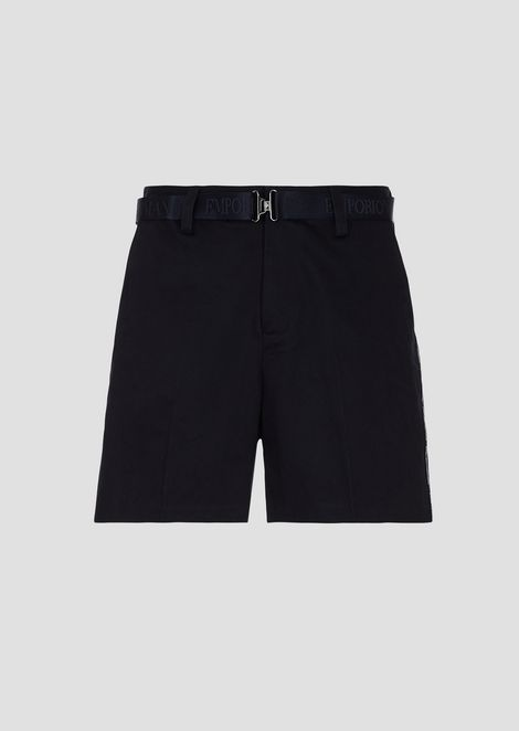Bermuda shorts in cotton twill with logo belt