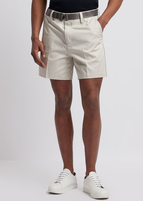 Bermuda short in cotton twill with logo belt