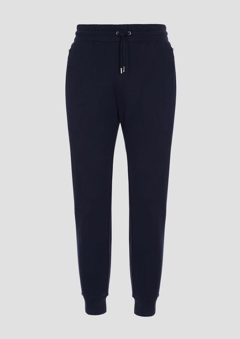 Cotton fleece interlock jogging trousers with logo detail