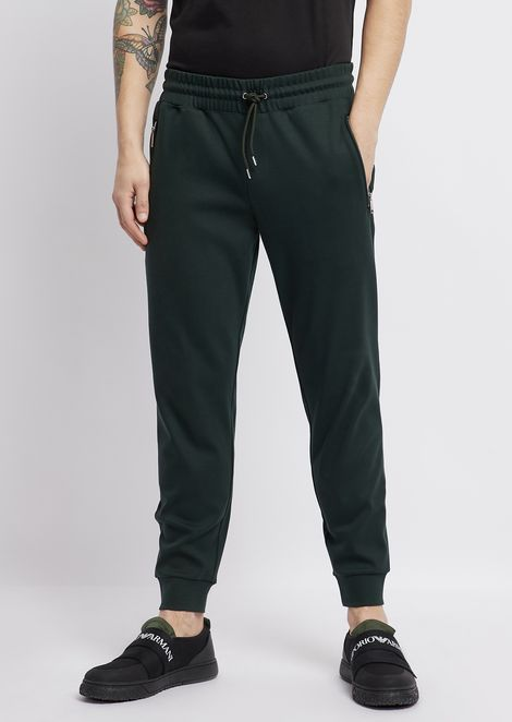 Cotton fleece interlock jogging pants with logo detail