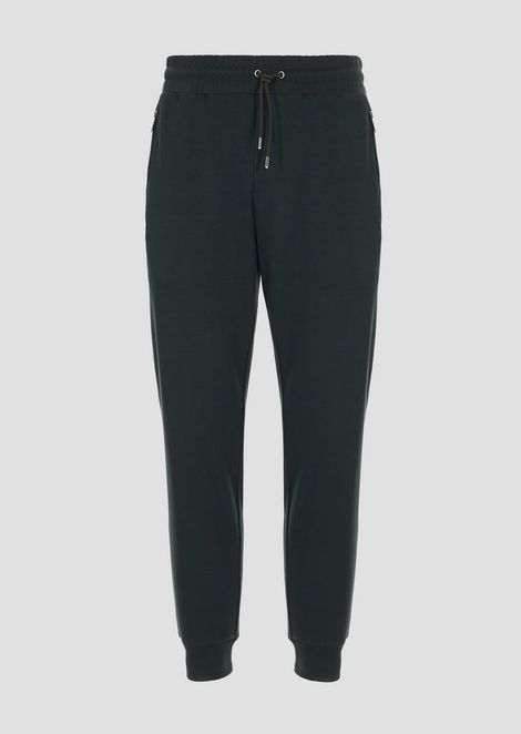 Cotton fleece interlock jogging pants with logo detail