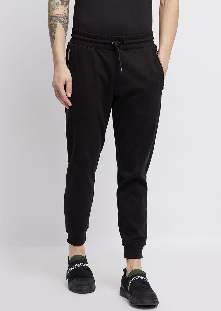 Pantalones deportivos de interlock de vellón de algodón con detalle con  logotipo  721d5a62499a