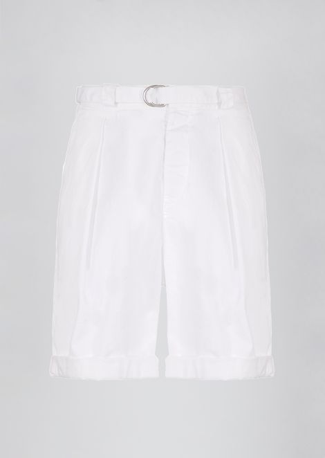 Garment-dyed stretch cotton Bermuda shorts