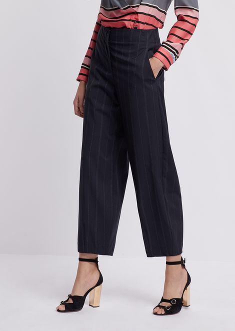 Pantaloni over cropped in tessuto gessato