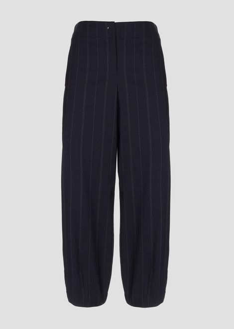Oversized cropped pants in pinstriped fabric