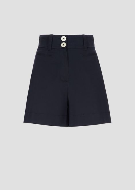 Double-sided stretch poplin shorts