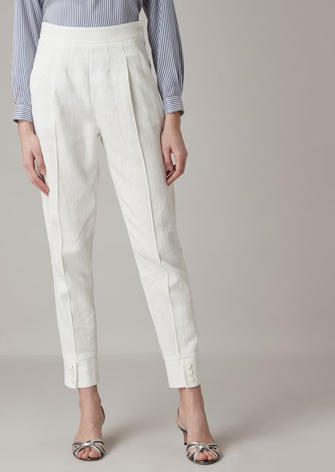 Washed wool blend serge pleated pants