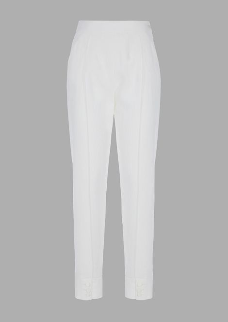 Washed wool blend serge pleated trousers