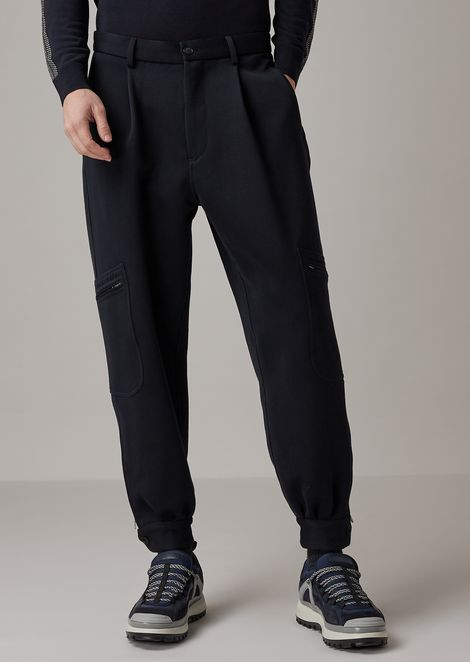 Oversized pants in double-sided garment-washed and tumbled drill