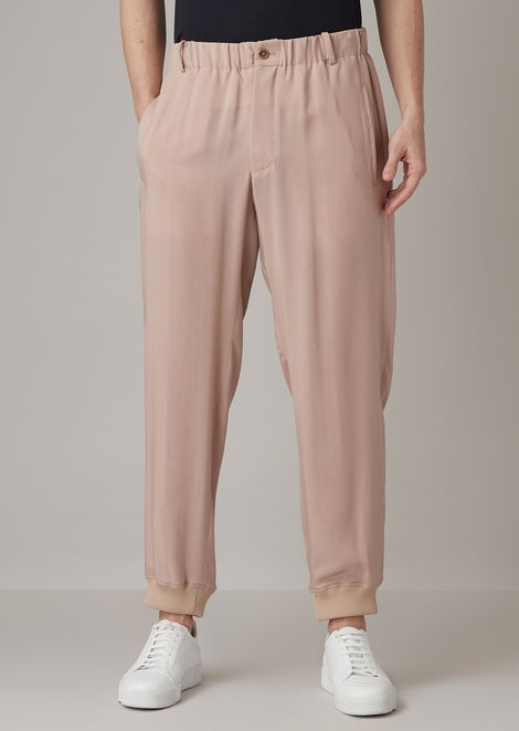 Oversized trousers in washed cupro natté