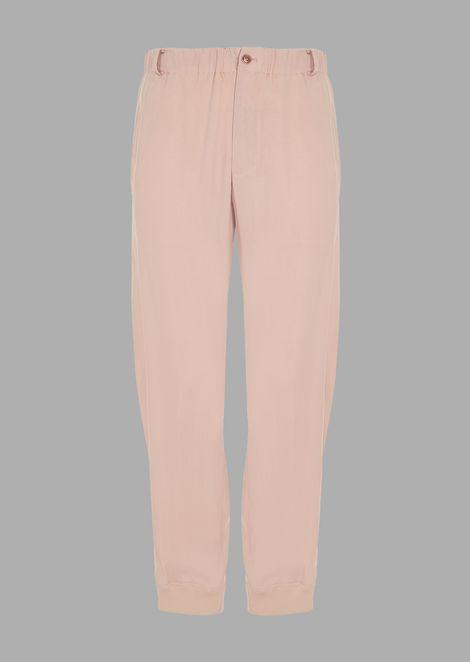 Oversized pants in washed cupro natté