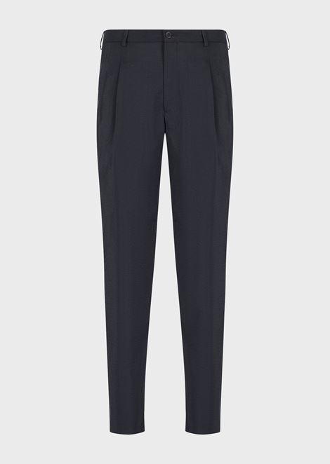 Pantaloni con pinces in twill misto seta