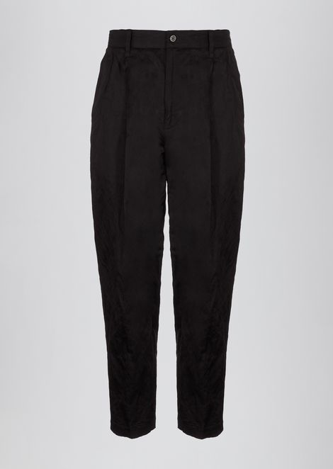 Crinkle cotton viscose pants with darts
