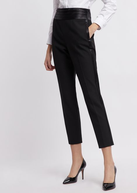 778df4061be Crepe pants with waistband and side satin bands