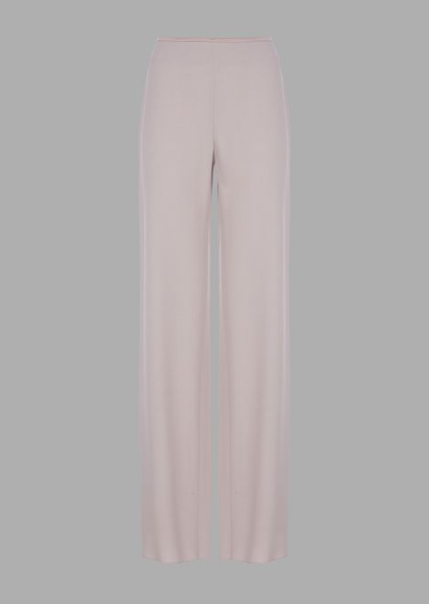 Cropped pants in plain-colored silk blend cady